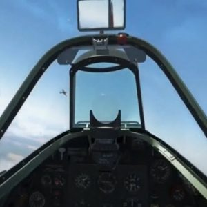 view from cockpit of a plane with a plane in the target window in sky