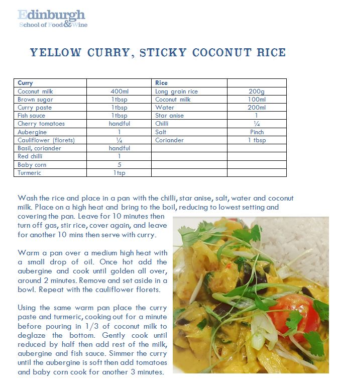 recipe for yelloe curry and sticky rice from Edinburgh School of Food & Wine